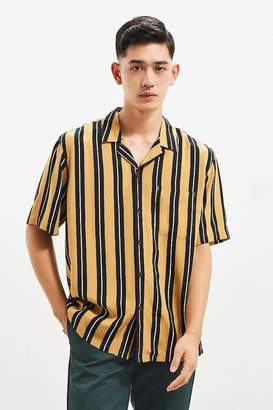 Urban Outfitters Rayon Vertical Stripe Short Sleeve Button-Down Shirt