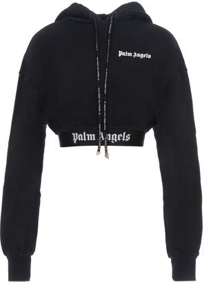Palm Angels New Basic Cropped Hoody Black Multicolor