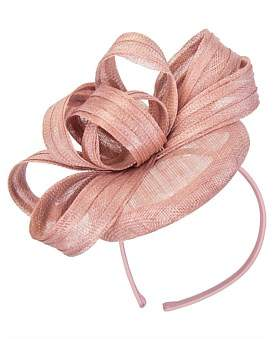 Max Alexander Dusty Pink Sinamay Button With Bow On The Headband