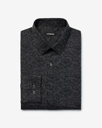 Express Slim Floral Print Twill Dress Shirt