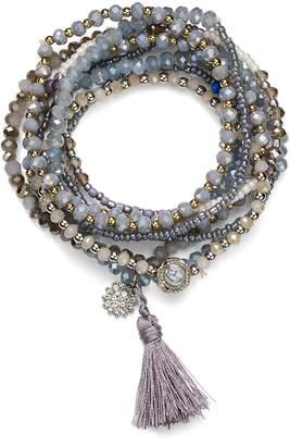 Aqua Beaded Tonal Gray Bracelets - 100% Exclusive