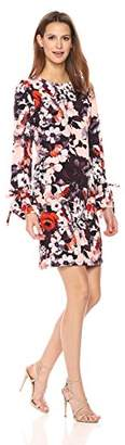 Nine West Women's Long Puff Sleeve Floral Printed T-Shirt Dress