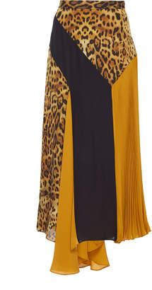 Cushnie Asymmetric Color-Block Silk-Georgette Midi Skirt Size: 0