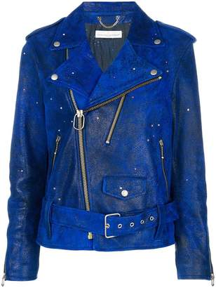 Golden Goose crystal-embellished biker jacket