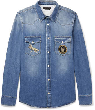 Alexander McQueen Slim-fit Appliquéd Denim Shirt - Indigo