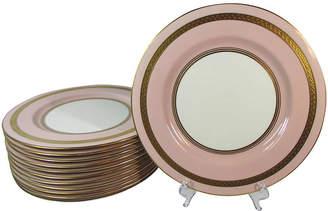 One Kings Lane Vintage Pale Pink Limoges Dinner Plates - Set of 12 - Stucco Mansion Antiques