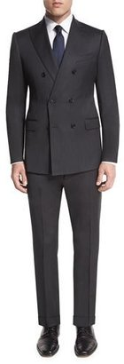 Armani Collezioni M-Line Double-Breasted Super 150s Wool Two-Piece Suit, Charcoal $1,895 thestylecure.com