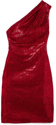 Haney - Valentina One-shoulder Sequined Stretch-tulle Mini Dress - Red