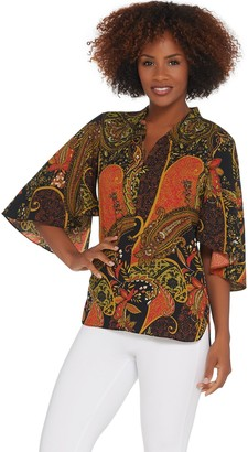 Belle By Kim Gravel Belle by Kim Gravel Paisley Print Flutter Sleeve ZipFront Blouse