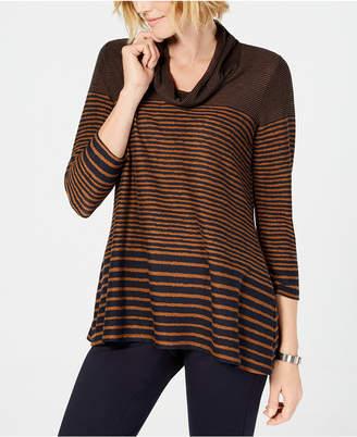 John Paul Richard Petite Striped Cowl-Neck Sweater