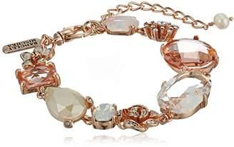 Badgley Mischka Womens Blush & Crystal Flower Line Bracelet