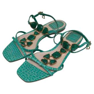 Christian Dior Turquoise Leather Sandals