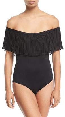 Luxe by Lisa Vogel Please Say Plisse Off-the-Shoulder Maillot One-Piece Swimsuit