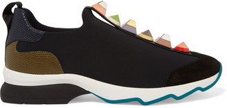 Fendi - Embellished Suede And Lizard-effect Leather-trimmed Neoprene Sneakers - Black $900 thestylecure.com