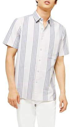 Topman Slim Fit Oxford Stripe Short Sleeve Button-Up Shirt