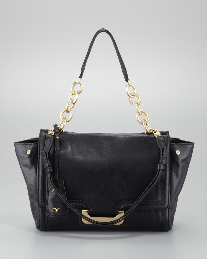 Diane von Furstenberg New Harper Charlotte Leather Bag, Black