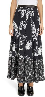 Loewe Leather Trim Feather Print Midi Skirt