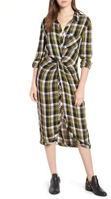 Caslon Twist Front Plaid Shirtdress