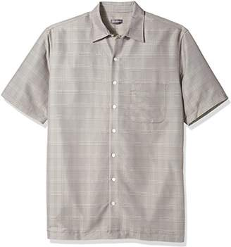 Van Heusen Men's Size Big Poly Rayon Short Sleeve Button Down Shirt
