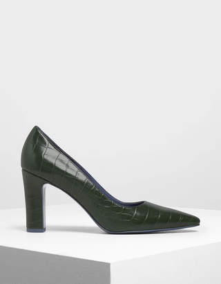 Charles & Keith Pointed Toe Chunky Heel Pumps