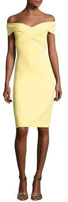 Theia Off-the-Shoulder Sweetheart Cocktail Dress, Yellow $550 thestylecure.com