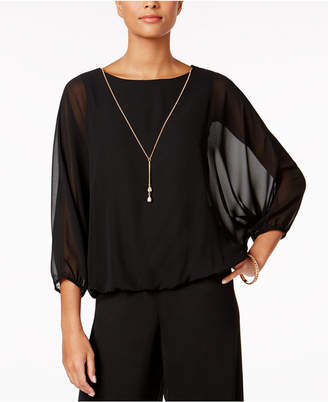 Msk Chiffon Batwing-Sleeve Blouse with Necklace $59 thestylecure.com
