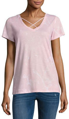 Arizona Short Sleeve V Neck T-Shirt-Womens Juniors