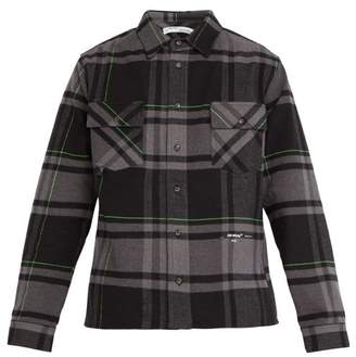 Off-White Off White Checked Brushed Cotton Blend Twill Shirt - Mens - Grey