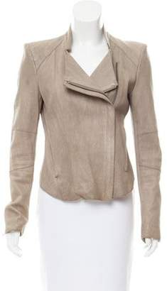 Helmut Lang Standing Collar Leather Jacket