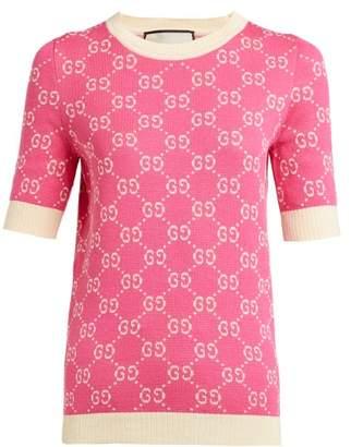Gucci Gg Logo Jacquard Cotton Sweater - Womens - Pink White