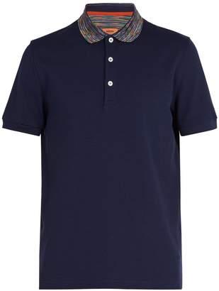 Missoni Striped-collar cotton-piqué polo shirt