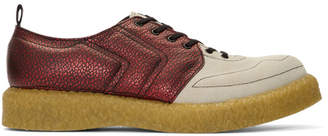 Comme des Garcons Red and Biege Velour Goatskin Sneakers