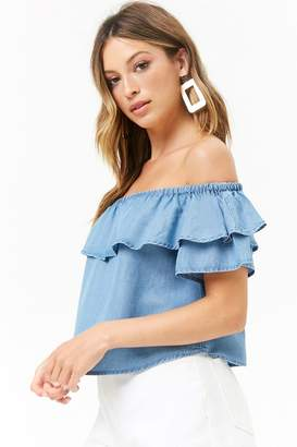 Forever 21 Flounce Chambray Top