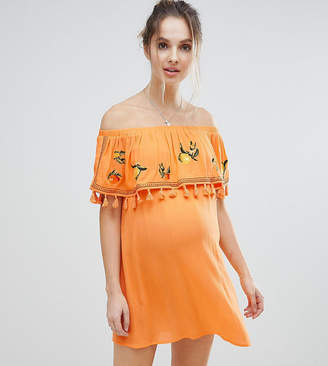 Asos DESIGN Maternity Fruit Embroidered Bandeau Beach Dress
