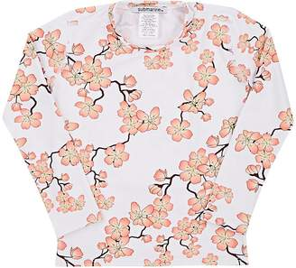 Submarine Kids' Cherry-Blossom-Print Long-Sleeve Rashguard