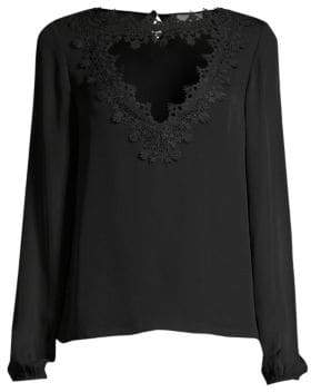 CAMI NYC Tali Lace Cutout Silk Blouse