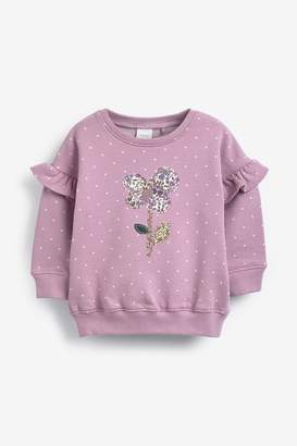 Next Girls Mid Pink Flower Embroidered Crew Top (3mths-7yrs) - Purple