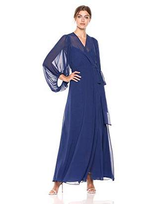 Halston Women's Printed Blouson Sleeve V-Neck Wrap Gown, Navy Pixel dot