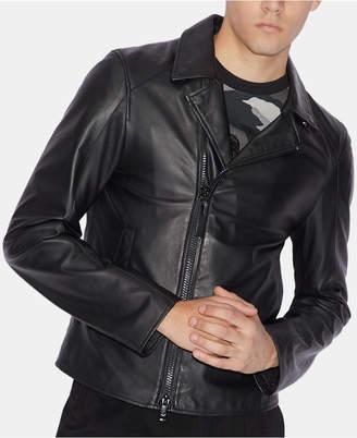 Armani Exchange Men Slim-Fit Leather Jacket
