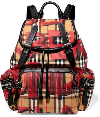 Burberry Leather-trimmed Printed Gabardine Backpack - Beige