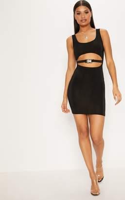 PrettyLittleThing Black Slinky Buckle Under Boob Bodycon Dress