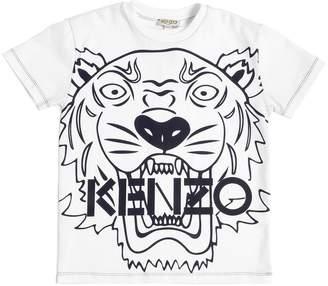 Kenzo Tiger Logo Printed Cotton Jersey T-Shirt