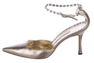 Manolo Blahnik Metallic Ankle-Strap Pumps