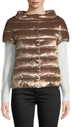 Herno Sparkle Horizontal-Quilted Cap-Sleeve Puffer Jacket