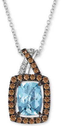"LeVian Le Vian Sea Blue Aquamarine (1-1/6 ct. t.w.) & Diamond (1/3 ct. t.w.) 18"" Pendant Necklace in 14k White Gold"