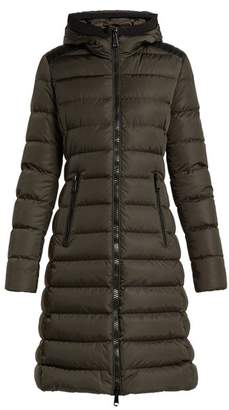 Moncler - Taleve Leather Panel Quilted Coat - Womens - Khaki
