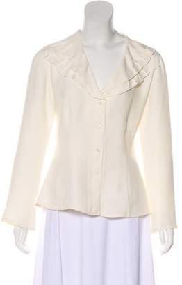 Armani Collezioni Ruffled Silk-Blend Blouse