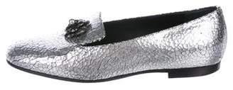 Chanel Embellished Metallic Loafers
