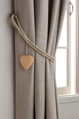 Next Set of 2 Wooden Heart Tie Backs