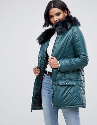 Urban Code Urbancode parka coat with onion quilting and faux fur hood